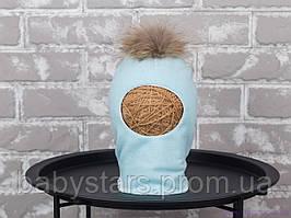 Шапка шлем детская с бубоном из чернобурки, мята