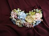 Венок цветочный для волос пудровый с персиковым и голубым, фото 2