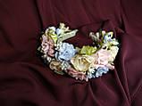 Венок цветочный для волос пудровый с персиковым и голубым, фото 3