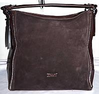 Женская каштановая сумка из натуральной замши 35*35 см