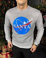 Мужской зимний свитшот с флисом рисунок Santa серый