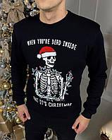 Мужской зимний свитшот с флисом рисунок скелет Манты черный
