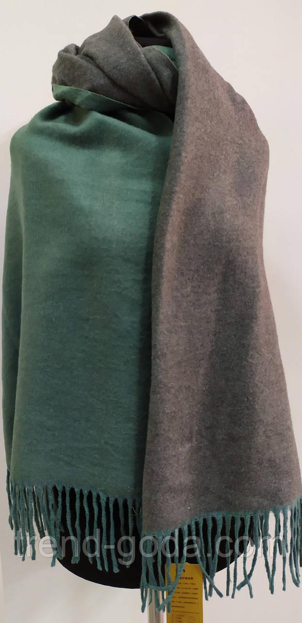 Шарф палантин однотонный двухсторонний, шерсть и кашемир, зеленого цвета
