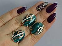 Серебряный гарнитур набор сережки кольцо все размеры.