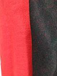 Шарф палантин однотонный двухсторонний, шерсть и кашемир, красного и черного цвета, фото 2