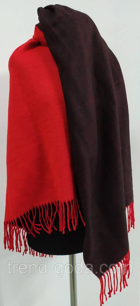 Шарф палантин однотонный двухсторонний, шерсть и кашемир, красного и черного цвета
