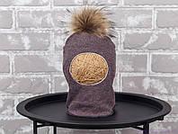 Шапка шлем детский с бубоном из чернобурки, коричневый меланж, фото 1