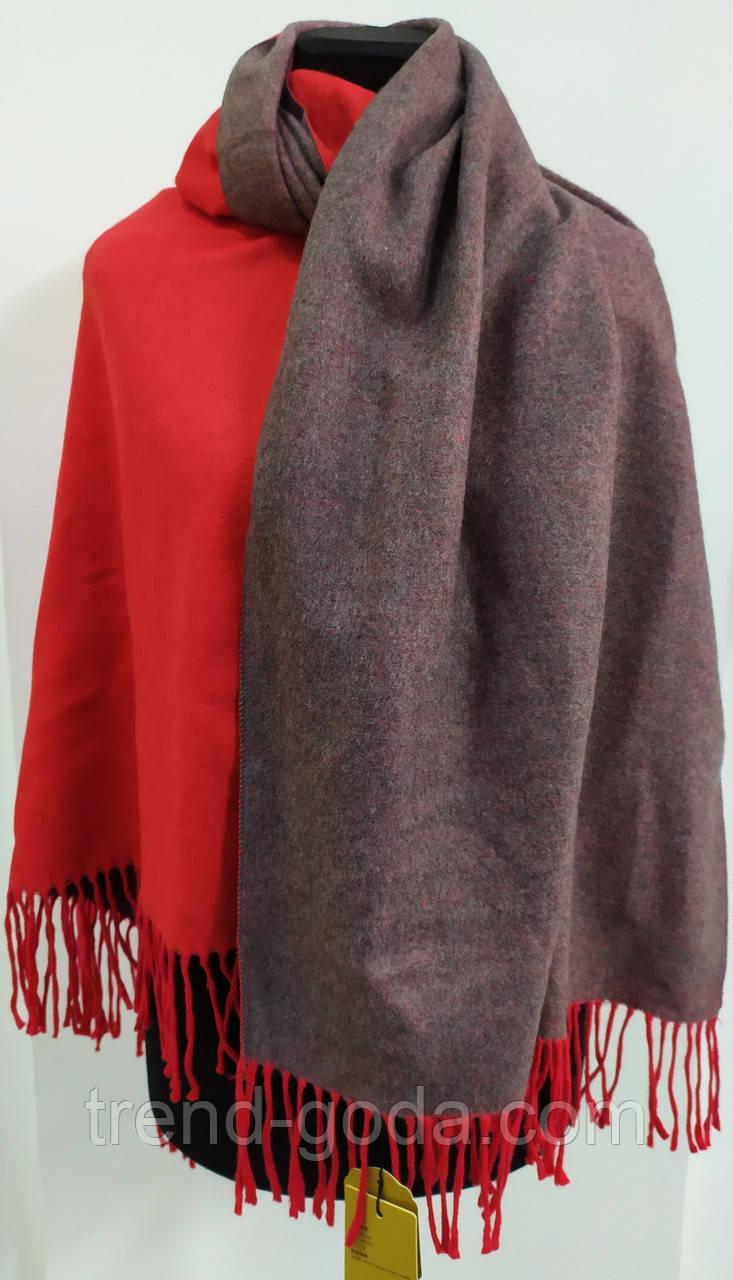 Шарф палантин однотонный двухсторонний, шерсть и кашемир, красного и серого цветов