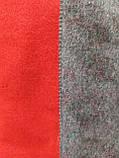 Шарф палантин однотонный двухсторонний, шерсть и кашемир, красного и серого цветов, фото 3