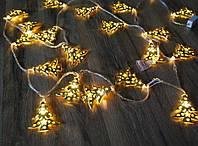 """Гирлянда новогодняя светодиодная LED - игрушка золотые """"елочки"""" String Fly (10 елочек)"""