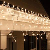Гирлянда Бахрома Уличная 124 LED Premium Iceclude IP44 для украшения интерьеров и фасадов, цвет теплый белый