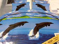 3D Сатиновое постельное белье Евро размера - Дельфины