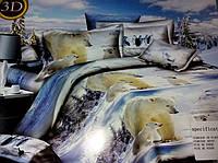 3D Сатиновое постельное белье Евро размера - Полярные ведмеди