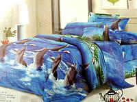 3D Сатиновое постельное белье Евро размера - Дельфинчики