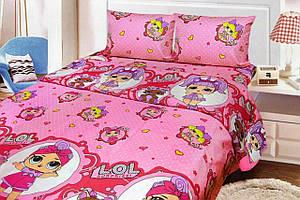 Постельное бельё детское полуторный размер «кукла Лол» розового цвета