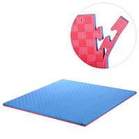 Коврик-мат Метр+ M 3552 спортивный 100 х 100 х 3 см Синий/Красный