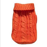 Вязаный свитер для собак оранжевый