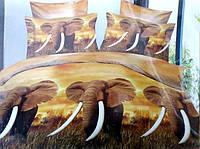 3D Сатиновое постельное белье Евро размера - Слоны
