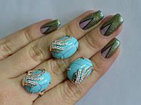 Серебряный гарнитур набор сережки кольцо с камнями все размеры. Бирюза