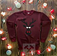 Мужской новогодний свитшот зимний ( бордовый )