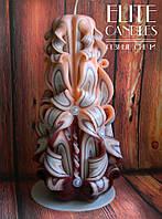 Інтер'єрний подарунок - свічка для декору в світло-коричневих тонах, красиво поєднується з меблями з дерева