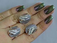 Серебряный гарнитур набор сережки кольцо с камнями все размеры. Кошачий глаз серый