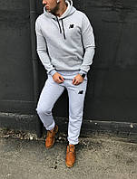 Спортивный костюм New Balance, мужской, зимний, светло-серый, трехнитка на флисе, код DS-1030.
