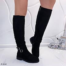 Замшевые сапоги на низком каблуке, фото 2