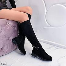 Замшевые сапоги на низком каблуке, фото 3