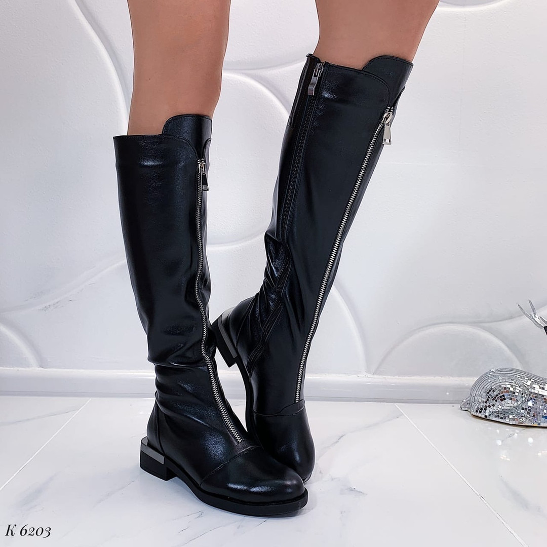 Кожаные сапоги без каблука