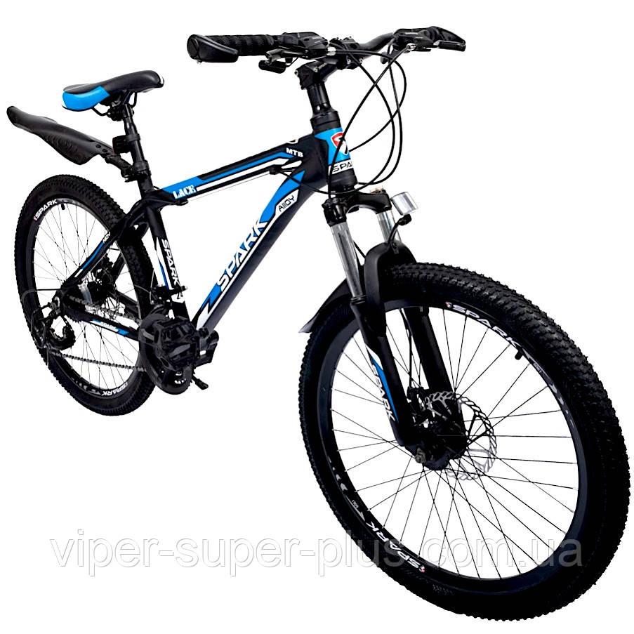 """Велосипед с Багажником SPARK VSP LACE LD24-15-21-004 Чёрно-Синий (Алюминиевая рама 15"""") на 24 дюймов"""