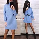 Вязаное свободное платье туника с высоким воротником и длинным рукавом 903679, фото 2