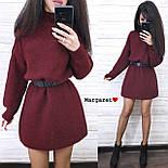 Вязаное свободное платье туника с высоким воротником и длинным рукавом 903679, фото 3
