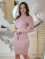 Вязаное платье с кулиской на талии и высоким воротником 703683, фото 1