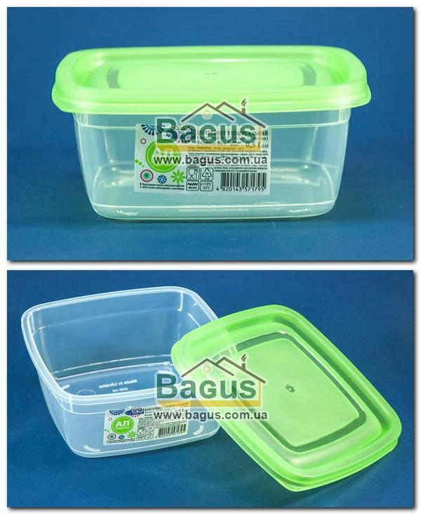 """Емкость (судок) пищевая 0,5л 12,4х12,4х5,3см пластиковая с крышкой """"Econom Box Квадратный №1"""" Ал-Пластик"""