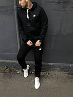 Спортивный костюм New Balance, мужской, зимний, цвет - черный, трехнитка на флисе, код DS-1036.