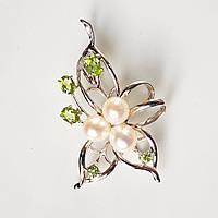 Брошь-кулон серебряная жемчуг хризолиты Цветок натуральный перидот