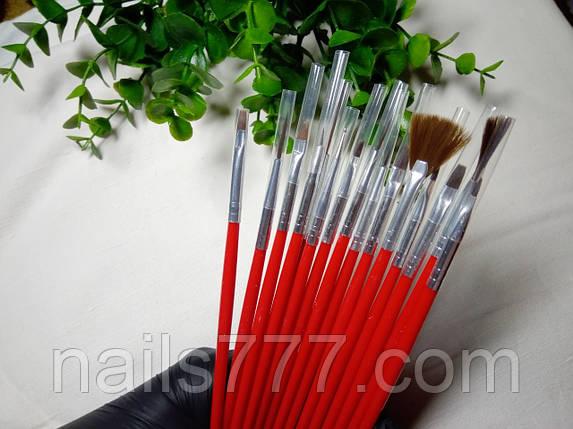 Набор кистей для ногтей 15 шт красный, фото 2