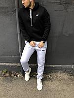 Спортивный костюм Adidas мужской, зимний, черный с серым, трехнитка на флисе, в стиле Адидас, код DS-1043.