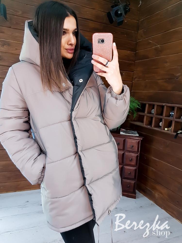 Женская двухсторонняя светоотражающая куртка зимняя с большим капюшономна кнопках 6601221Q
