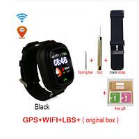 Детские умные часы телефон hold mi Q90 1,22 дюймов цветной сенсорный экран черный с GPS смарт часы