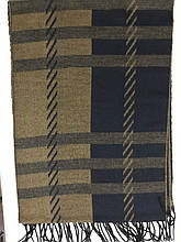 Мужской шарф  двухсторонний  цвет бежевый с синим