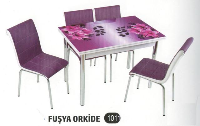 Столы стеклянные со стульями (комплект) Турция