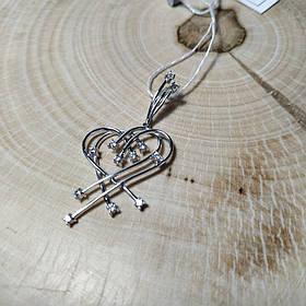 Серебряный кулон сердце с фианитами, родированный