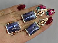 Серебряный гарнитур набор кольцо + длинные сережки с камнями.