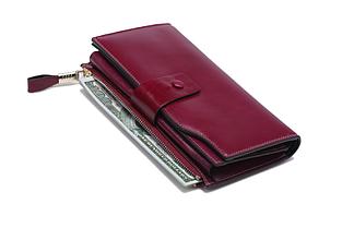 Большой кошелек портмоне много отделов / натуральная кожа #10221 Малиновый