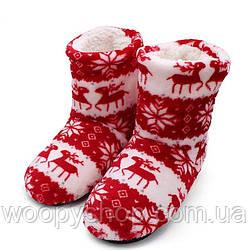 Тапочки сапожки домашние красные