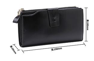 Большой кошелек портмоне много отделов / натуральная кожа #10221 Черный
