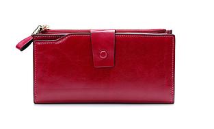 Большой кошелек портмоне много отделов / натуральная кожа #10221 Красный