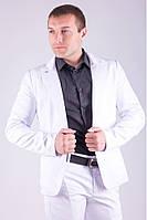 Стильный пиджак мужской на одну пуговицу белый